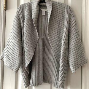 Chico's Grey Cardigan Sweater metallic thread S L